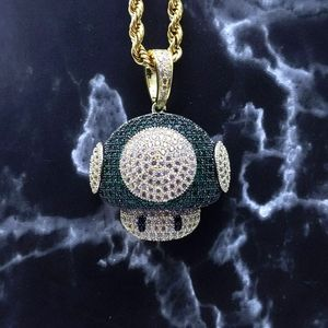 """24""""Rope Chain + 14K Gold Finish Green CZ Toad"""